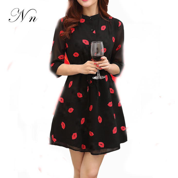Fashion Summer Women Dress 2015 Ladies Autumn Sexy Lips Printed Casual Slim Chiffon Shirt Dresses Plus Size XL Vestidos WD23