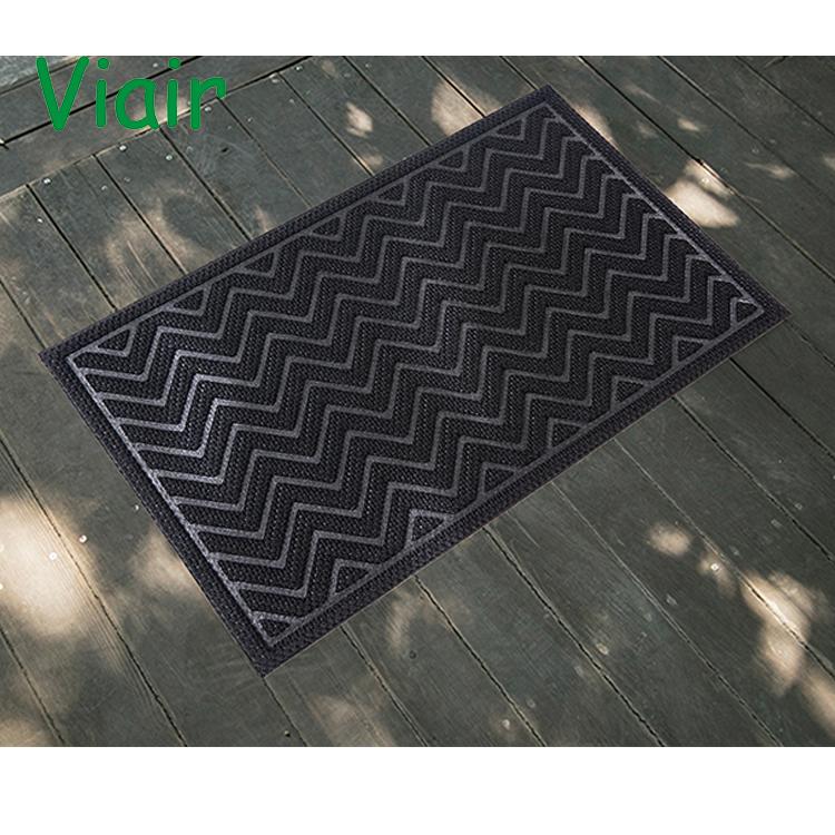 Black Front Door mats rubber Outdoor Entrance Doormat Indoor Home and Office Stop Dirt Doormats