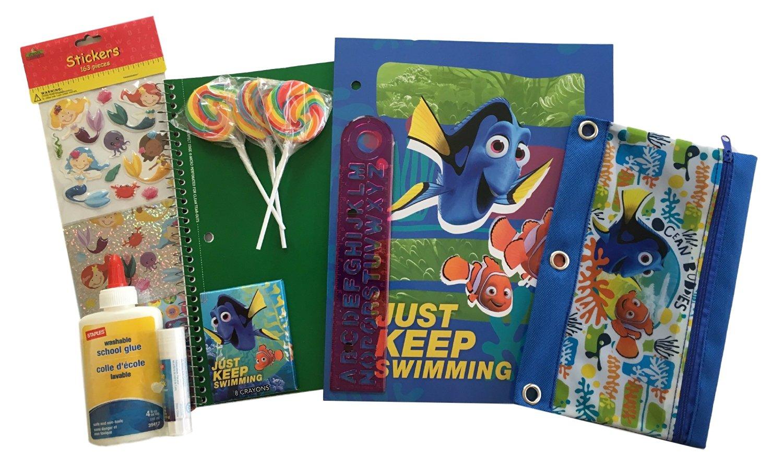 Disney Pixar Finding Dory School Supplies - 8 pc Set - Folder - Composition Book - Pencil Bag - Stickers - Ruler - Glue - Lollipops