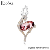 Eccosa Custom Cute Animal Lovely Deer Pendant Necklace or Brooch Made with Crystals from Swarovski