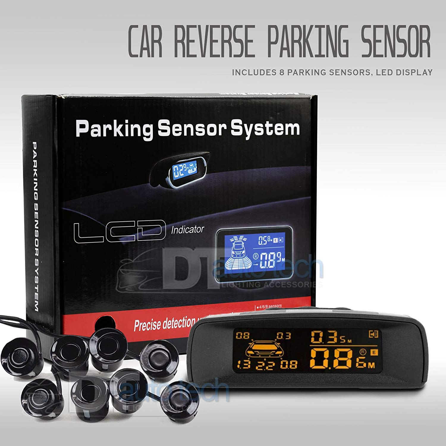 Car Parking Sensor Kit Rear Reverse Backup Radar System 8 Sensors with Display Backup Reversing Sensors Universal Auto Radar Detector Sensors Radar Buzzer BiBi Alarm Indicator (Black)