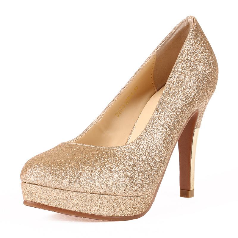Get Quotations · thick heel platform single shoes red female gold women s  shoes bridal shoes plus size autumn high 2abb12d45e1a