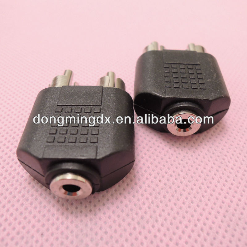 Audio system black RCA male to 3.5 female connector adapter