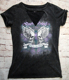 China Manufacturer Women's t-shirt Printing Black vintage washing tshirt for lady