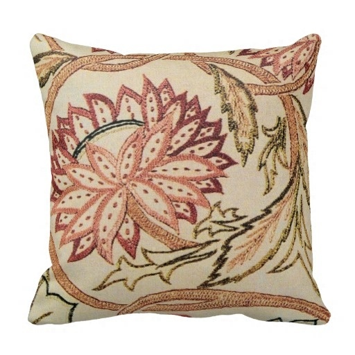 Excellent Pink Bohemian Flowers Throw Pillow Case (Size: 20