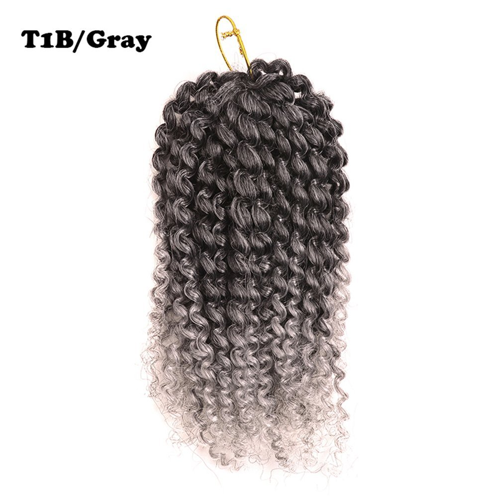 "2pack Ombre 8inch 3pcs/set Marlybob Crochet Braids Hair Curly Synthetic Braiding Hair Crochet Braid Hair Extensions afro kinky curl (8""(2pack), t1b/gray)"