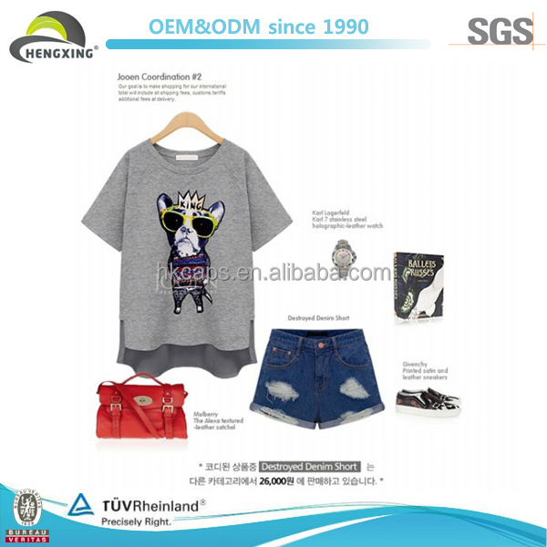 Front Short and Back Longer Sexy Girl Printed T-shirt