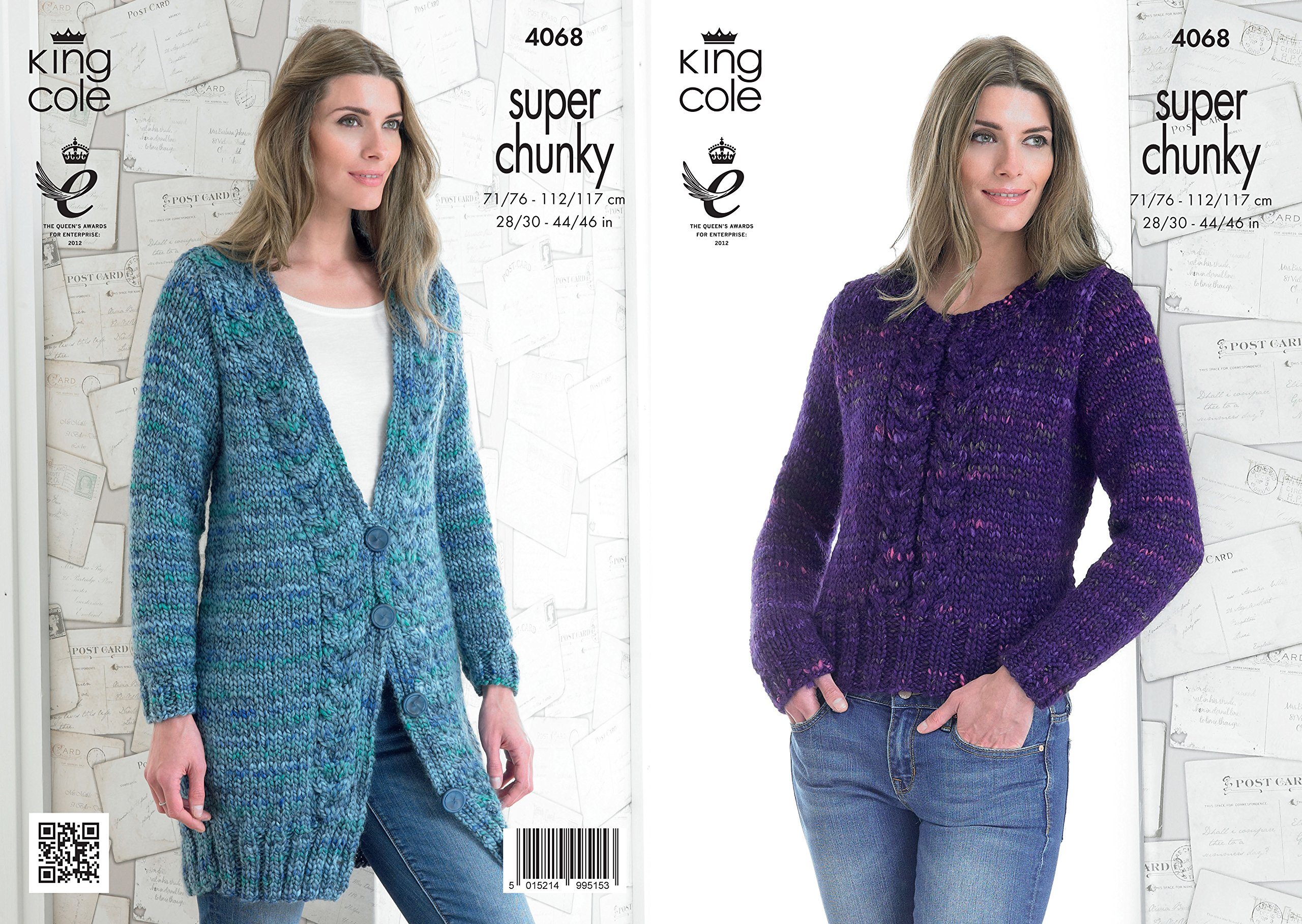 fc2e4b962 Get Quotations · King Cole Ladies Gypsy Super Chunky Knitting Pattern  Womens Cable Knit Sweater   Jacket (4068