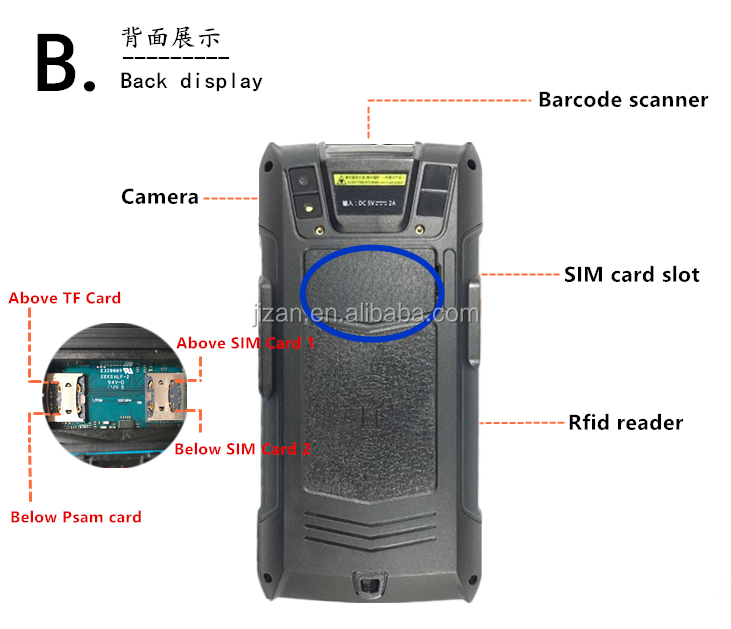 Smart Rugged Android Portable PDA Wireless Laser Barcode Scanner bluetooth with 6.0inch touch screen easy sign on