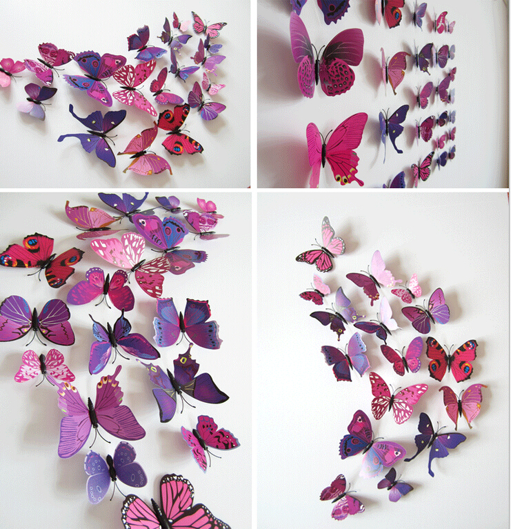 Christmas Home Decoration Butterflies12pcs  3D Simulation Papel Parede Decor Cute Butterfly Wall Stickers Art Decal mariposas