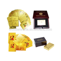 Customized wooden box package 100 waterproof gold foil casino plastic playing cards for entertainment