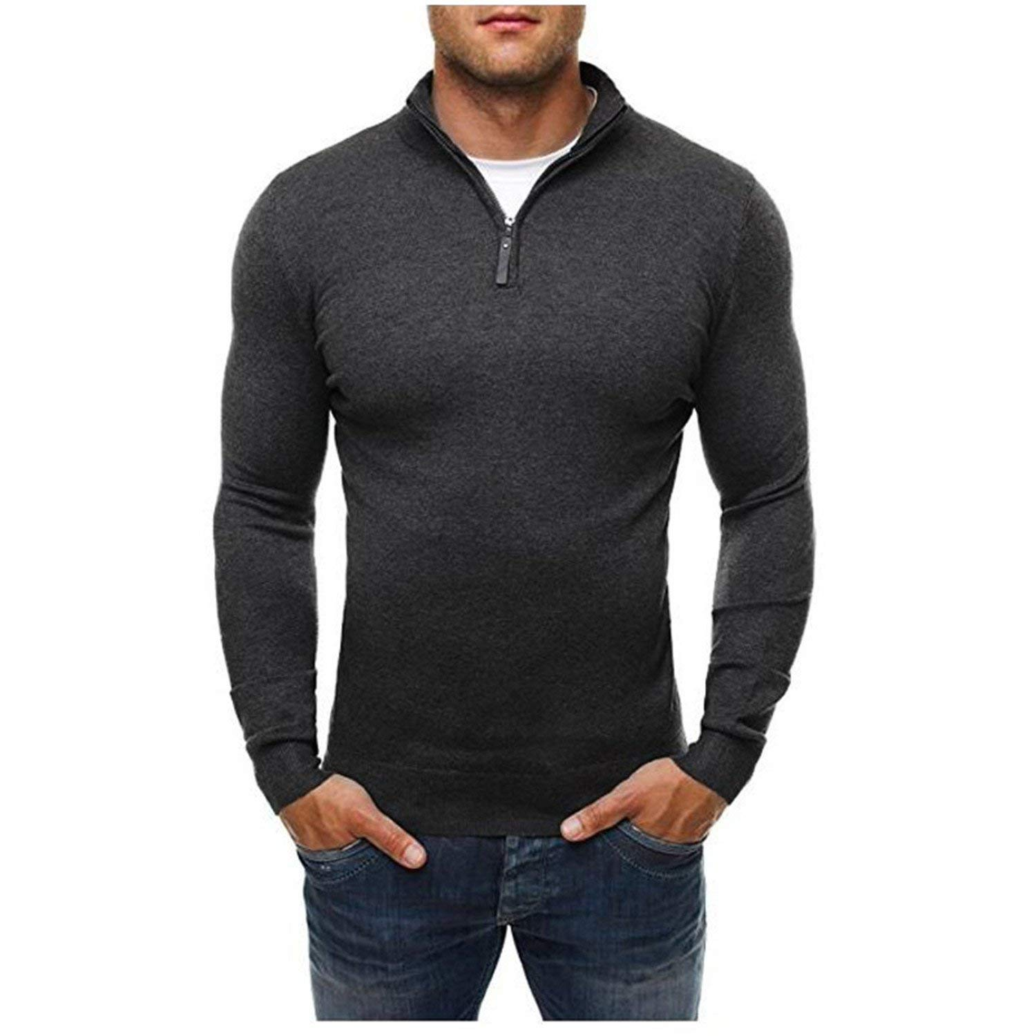 08f76f413e08 Get Quotations · Also Easy Men'S Pullover Sweaters Casual Sweater Turtleneck  Slim Fit Knitting Mens Sweaters Men Solid Color