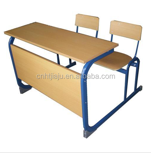 Double wooden school desk and chair/school desk bench /two seater school desks