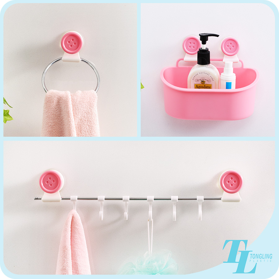 Cute pink simply china top supplier plastic sanitary bath room toilet accessory