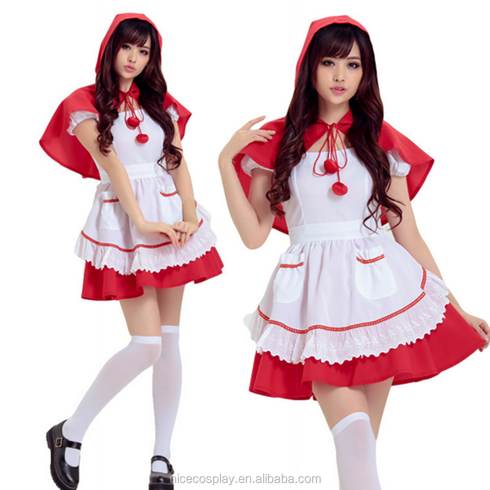 Cosplay Maid Movies Little Red Riding Hood Costume Maid Christmas Dress Stock