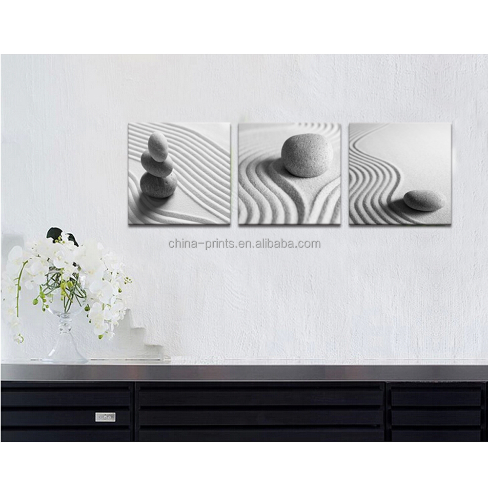 Noir et blanc encore vie toile mur art zen pierre sable for Toile decoration murale zen