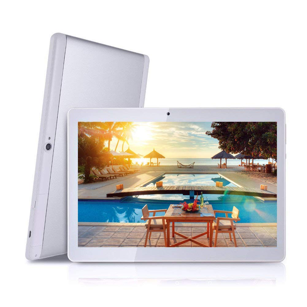 Android Tablet with Dual Sim Card Slots - Kiding 10 inch Octa Core 4GB RAM 64GB ROM Tablet PC 3G GSM Phone Call GPS WiFi Bluetooth YY-107S - Silver