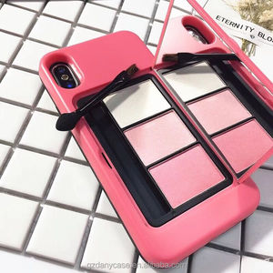 Beautiful Women Makeup Cosmetics Phone Case Cover For iPhone 8 Plus With eyeshadow palette and make up bush