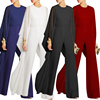 2018 Women Sexy Draped Long Flare One Sleeve Wide Leg Club Long Sleeve Jumpsuit