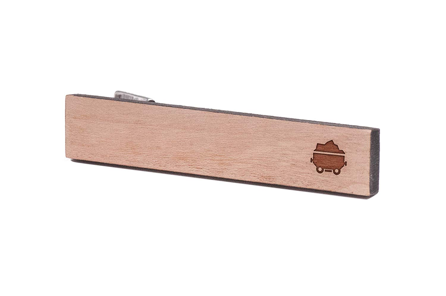 Wooden Accessories Company Wooden Tie Clips with Laser Engraved Coal Miner Design Cherry Wood Tie Bar Engraved in The USA