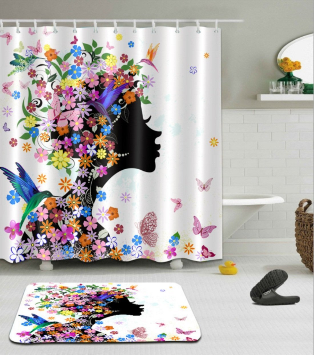 """Butterfly Shower Curtain Girl Decor by Chengsan, Girl Fashion Flowers with Butterflies Ornamental Floral Foliage Nature Forest Design, Polyester Fabric Bathroom Set with Hooks, 71""""W x 71""""L"""