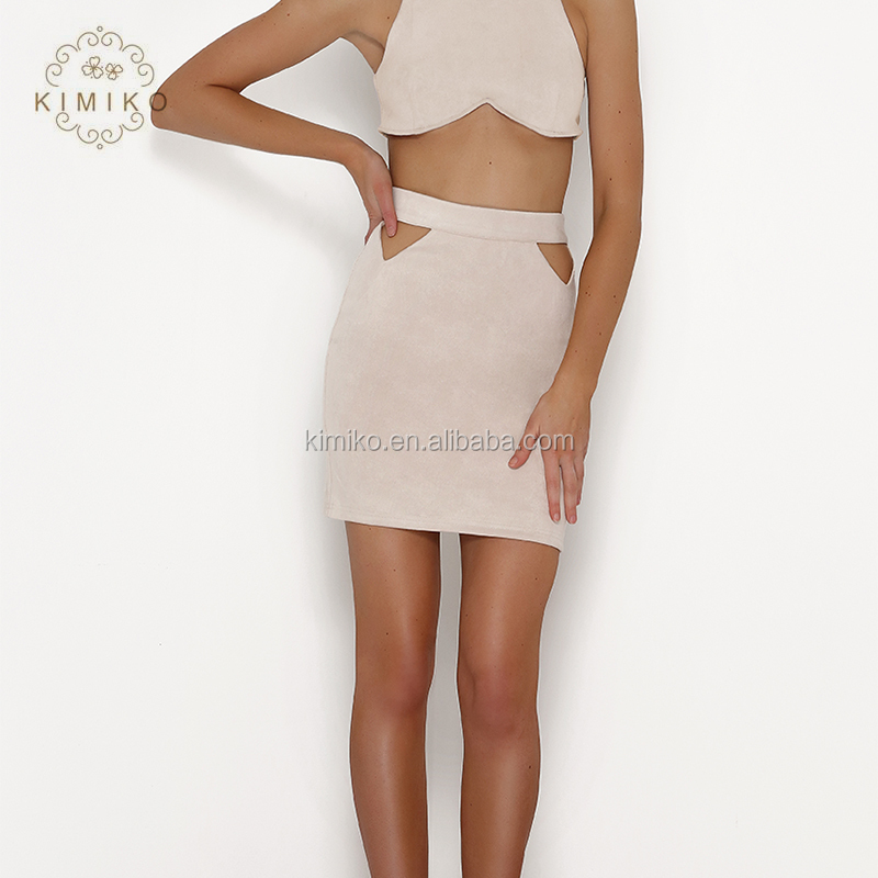 High Waist Faux Suede Fully Lined Front Cut Outs Mini Skirt