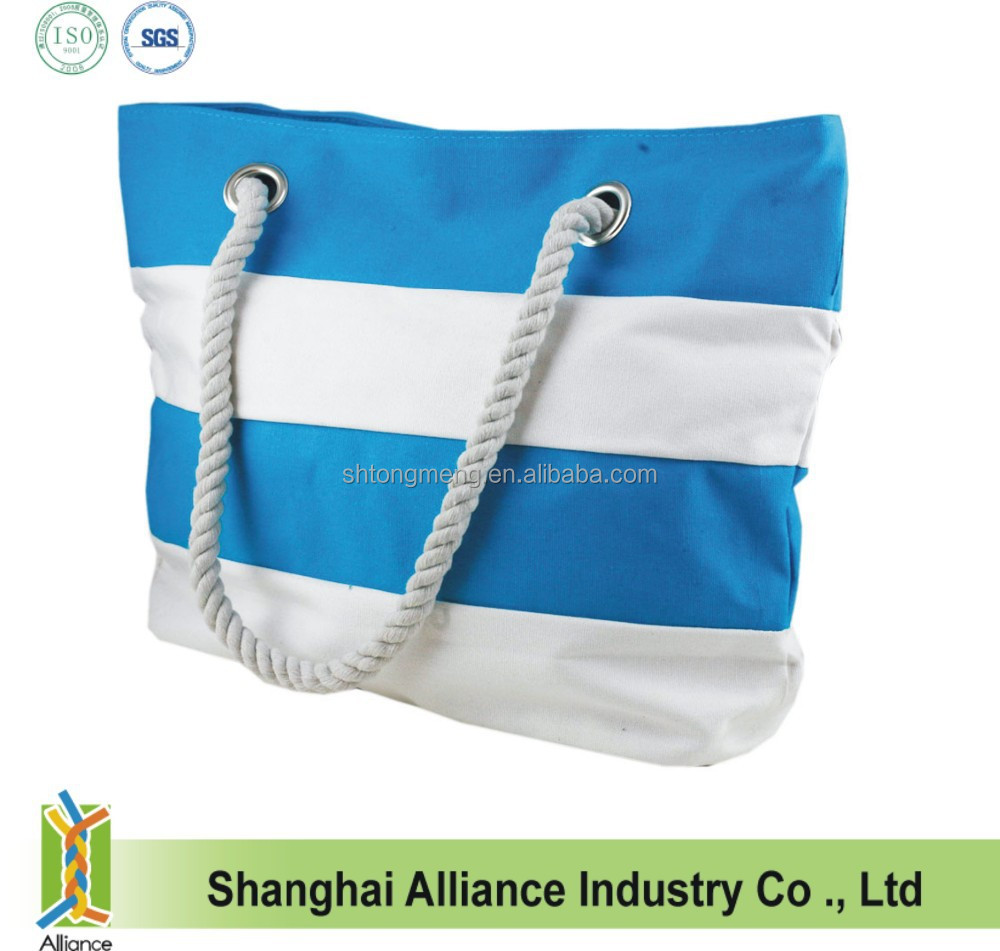 Rope Handle Striped Canvas Beach Bag Wholesale - Buy Canvas Beach ...