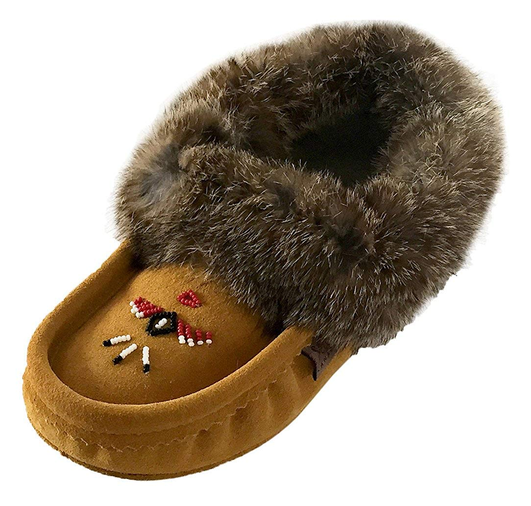 8f1bcaf50b7 Get Quotations · Laurentian Chief Women s Indoor Suede Slippers with Rabbit  Fur Collar Moccasins