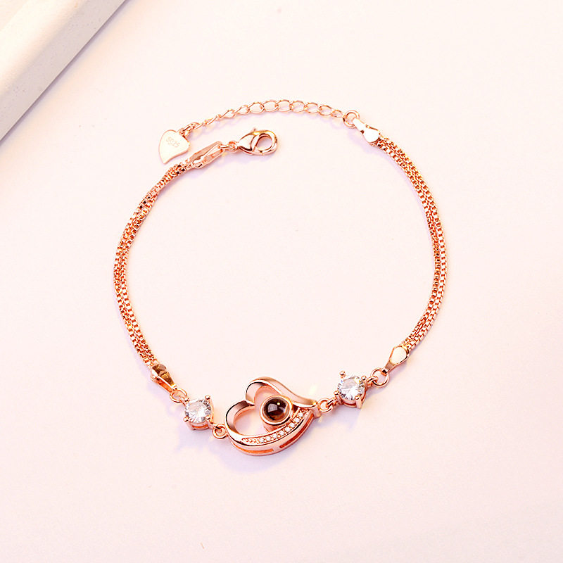 100 languages I love you Hainon bead bracelet women Heart-shaped rose gold bracelet Valentine's Day present фото