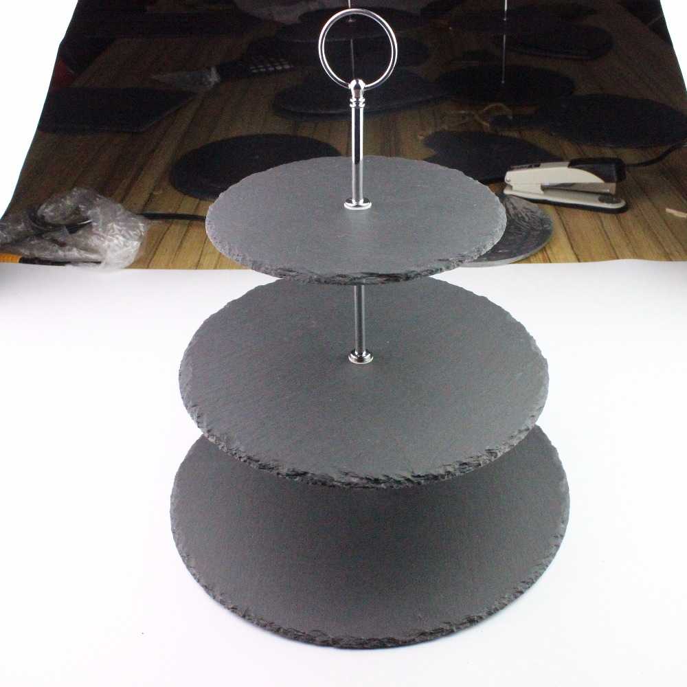 Wedding decoration Natural Edge Black Slate Cupcake Display Stand /slate cake stand/Wholesale 3 tier serving trays