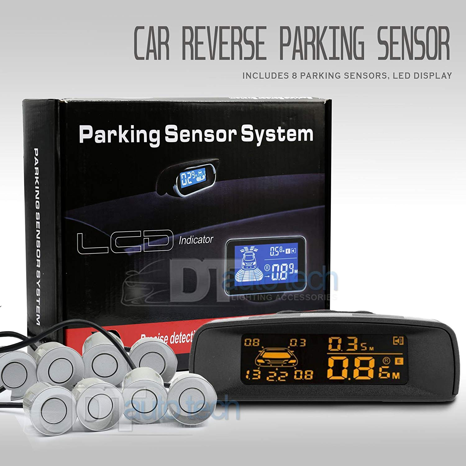 Car Parking Sensor Kit Rear Reverse Backup Radar System 8 Sensors with Display Backup Reversing Sensors Universal Auto Radar Detector Sensors Radar Buzzer BiBi Alarm Indicator (Silver)