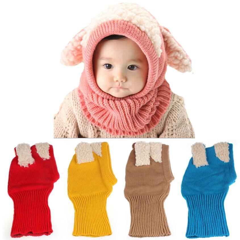 Winter Baby Kids scarf Knitted Woolen infants neckerchief cartoon Warm Woolen Coif Hood Caps cute fashion