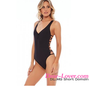618aafc7705 Factory Directly Sales Lady Sexy Black Strappy Sides One Piece Transparent  Monokini