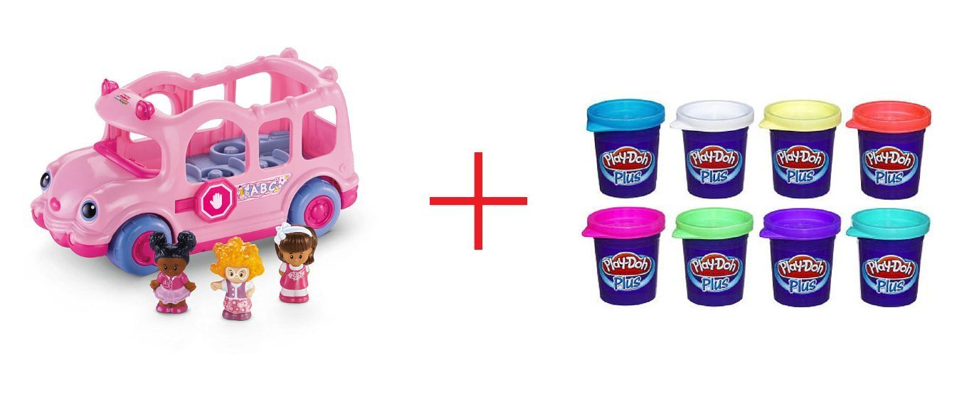 Fisher-Price Little People Lil' Movers School Bus and Play- Doh Plus Variety Pack - Bundle