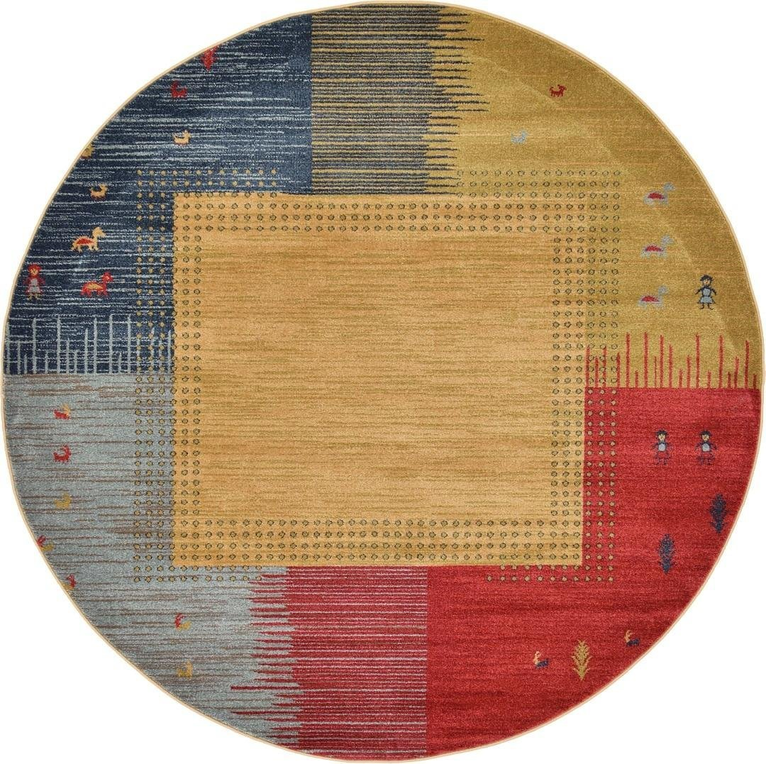 A2Z Rug 6.1-Feed-by-6.1-Feed Gabbeh Collection Area Rug - Tan Modern & Traditional rugs for living room - rugs for dining room & bedroom - Floor Carpet