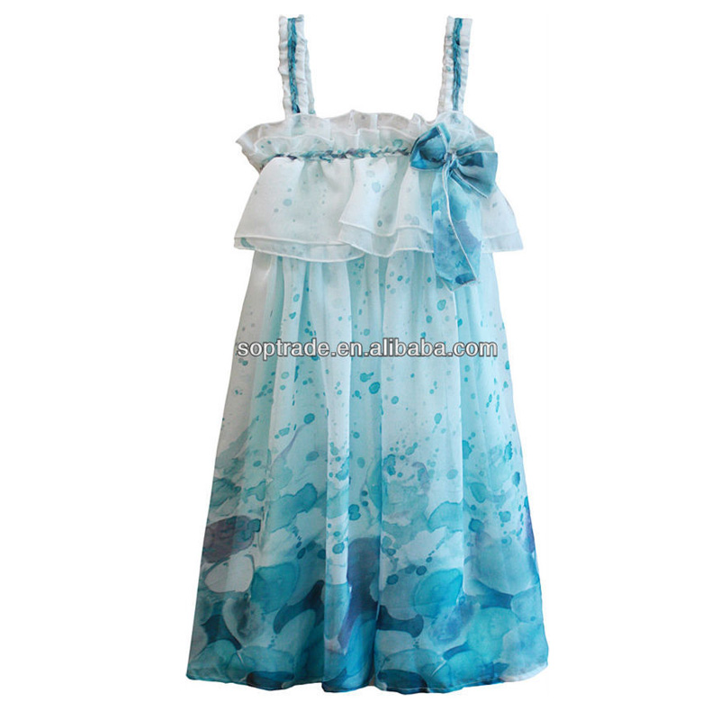 Sleeveless children wear printing floral girl dresses summer dress
