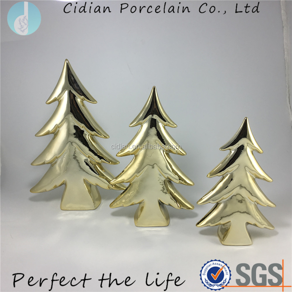 Ceramic gold plating Standing Christmas tree for home decoration