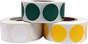 """Craft Decoration Color Coding Dot Stickers - Green Yellow and White - 1,500 Total 0.75"""" Inch Round Adhesive Labels"""