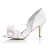 New Arrived Ivory Dyeable Chamming bow Bridal Shoes White Ivory Dyeable Satin Wedding shoes for women