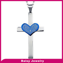 Hoge poolse gegraveerd christian sieraden lords prayer en cross rvs neckl