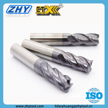 Overall Length 50mm HRC45 Corner Radius Type 4 Flutes Solid Carbide End Mills