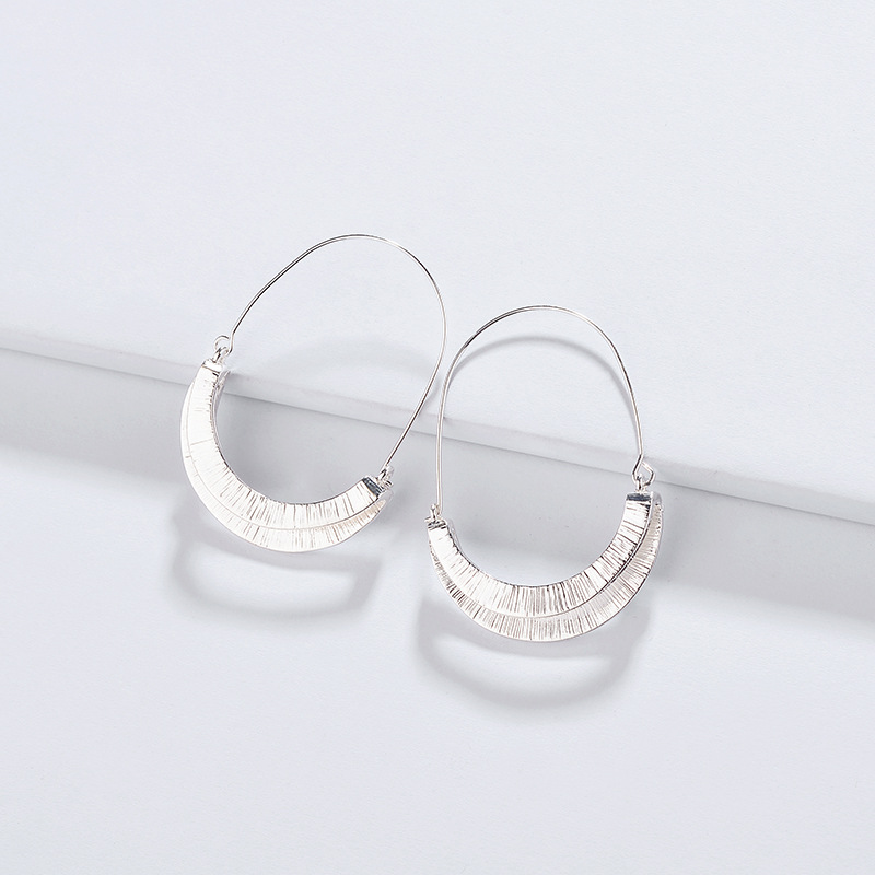 Fashion Alloy folding double layer semi-circular <strong>earrings</strong> <strong>hook</strong> <strong>gold</strong>/silver