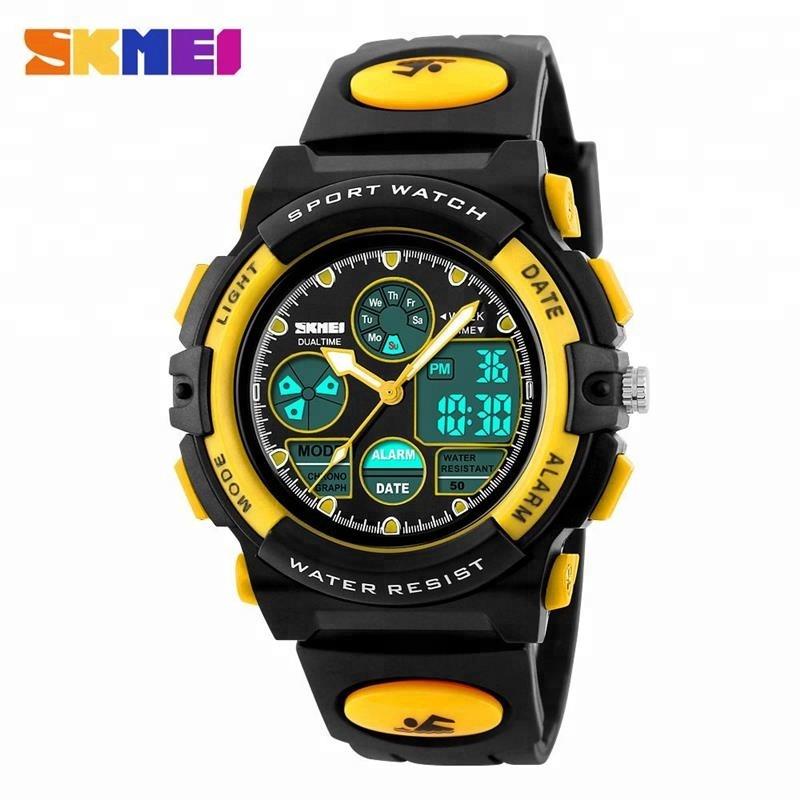 17bc99e8b30 Crianças SKMEI Led Duplo Display Digital Relógios De Pulso Meninos Relógio  de Quartzo Relogio Multifunções 50