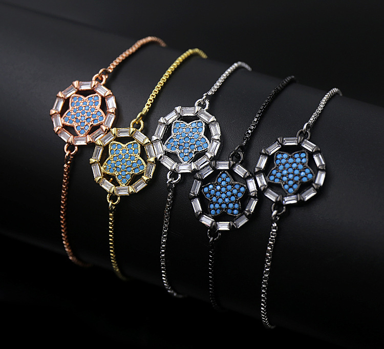Elegant Turkey Best Selling Zircon Chain Bracelet Blue Turquoise Star Adjustable Chain Bracelet