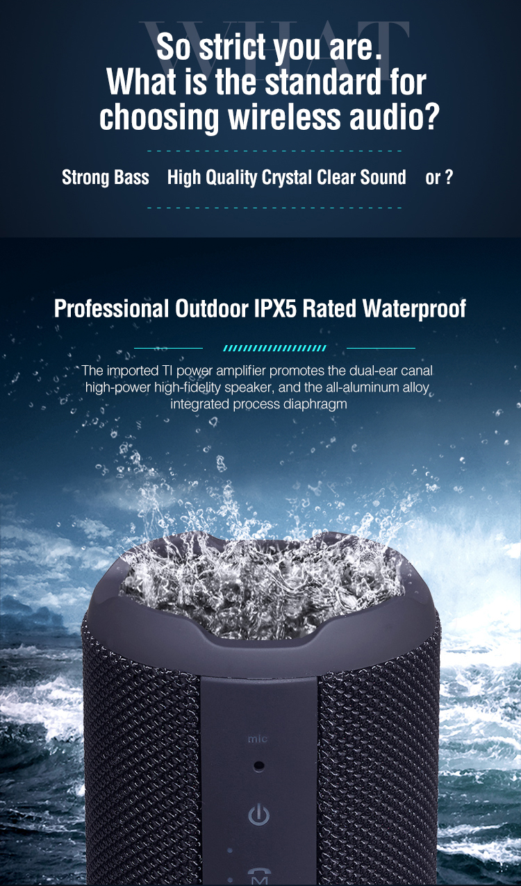 Terbaru Super Bass Desktop Ipx5 Olahraga Handsfree Tahan Air Portable Outdoor Mini Benar Wireless Speaker