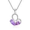 Mytys 925 Sterling Silver Purple Crystal Double Heart Pendant Necklace for Women CN502