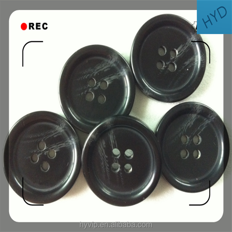 HYD Supply 25mm40L Four Eyes Double Striped Sticks Resin Button Imitation Horns High-grade Coat Windbreaker Buttons