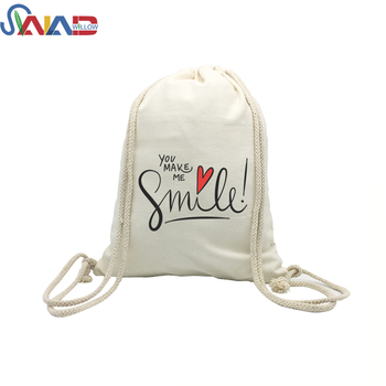2018 Fashion custom logo sports backpack shopping cotton canvas drawstring backpack