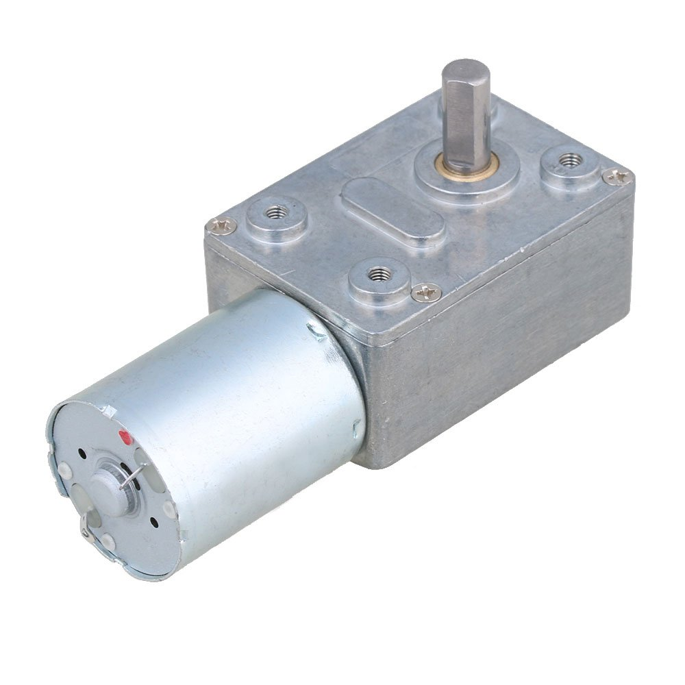 BQLZR DC 12V 0.6RPM Square Low Speed High Torque Turbo Worm Geared Motor Right Angle Gear Motor