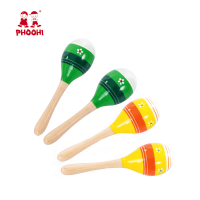 Children assorted color music instrument toddler toy wooden maracas for kids
